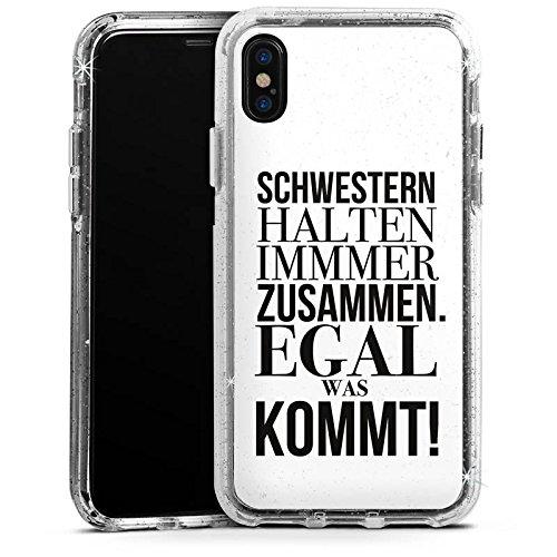 Apple iPhone X Bumper Hülle Bumper Case Glitzer Hülle Phrases Sayings Sprüche Bumper Case Glitzer silber
