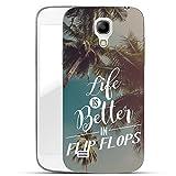 Finoo Samsung Galaxy S4 Handy-Tasche Schutzhülle | ultra leichte transparente Handyhülle in harter Ausführung | kratzfeste stylische Hard Schale mit Motiv Cover Case | Life is better in Flipflops