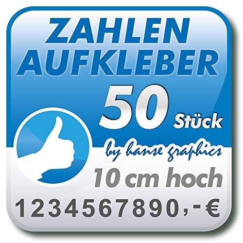 Preisvergleich Produktbild 50 Zahlenaufkleber Klebezahlen Klebeziffern je 10 cm hoch,  Zahlen Aufkleber in Wunschfarbe und -schrift