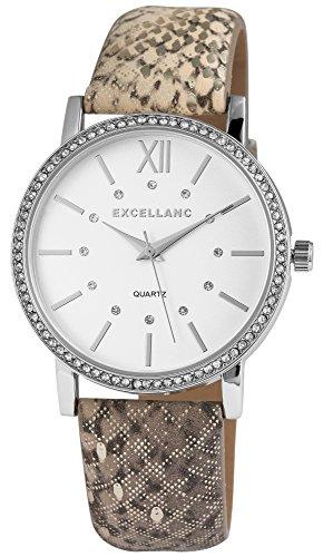 Damen-Armbanduhr Weiß Silber Grau Schlangen Look Strass Analog Quarz Metall Leder Damenuhr (Schlange Grau)