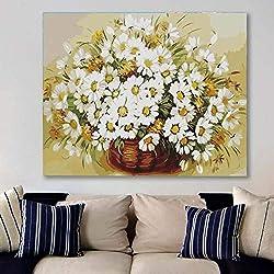 Auuyu Sin Marco Imagen En Color De Bricolaje Por Número Y Color Margarita Blanca Flor Mar Cuadro Pintura Sin Marco Decoración Del Hogar 40X50