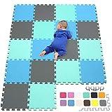 qqpp EVA Puzzle Tapis Mousse Bebe - Idéal pour Les Tapis De Jeux Enfant,18 Dalles(30*30*1cm), Bleu, Vert, Gris. QQC-GHLb18N
