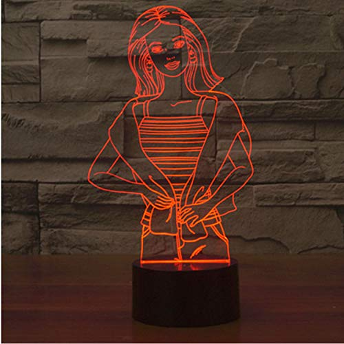 3D Led 7 Farben Usb Nightlight Mode Mädchen Touch Switch Form Tischlampe Beleuchtung Schlafzimmer Nacht Dekoration Kinder Geschenk