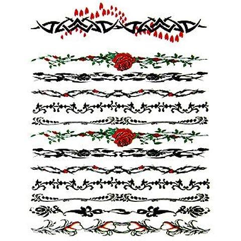 HJLWST® 6 pezzi di gioielli e fiori misti tatuaggio temporaneo