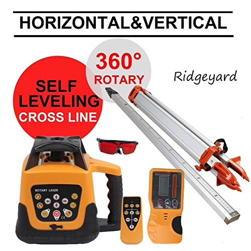 Ridgeyard Total Automatic Self Leveling Rotary Laser Level + 1,65 Aluminium Stativ + 5 m Personal Complete Set Building Measures (Rotary Laser Level Kit)