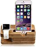 SENHAI Wood [2 in 1] Charging Dock Stand Station Stock Cradle Holder Bracket Accessory for Apple Watch iWatch 38mm and 42mm & iPhone 5, 5s, 6, iPhone 6 Plus(Bamboo)