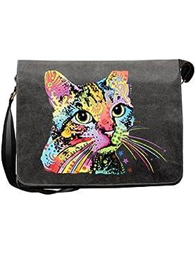 Catillac New Canvas Tasche for Ladies, Farbe Schwarz, Pop Art Style