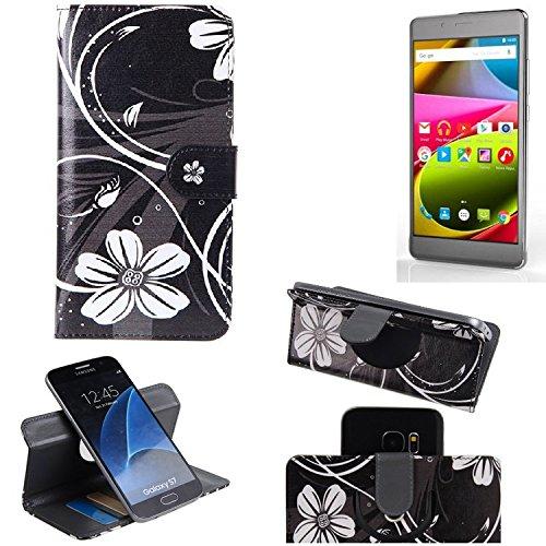K-S-Trade Schutzhülle für Archos 55 Cobalt Plus Hülle 360° Wallet Case Schutz Hülle ''Flowers'' Smartphone Flip Cover Flipstyle Tasche Handyhülle schwarz-weiß 1x