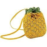 AiSi Mädchen Kinder mini modern Stroh gestrickte Strandtasche Umhängetasche clutch Handtasche...