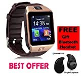 #6: Premium Design SAMSUNG Galaxy J7 Compatible Bluetooth Smart Watch DZ09 Phone With Camera and Sim Card & SD Card Support with free S530 bluetooth Headset (Random Colour)