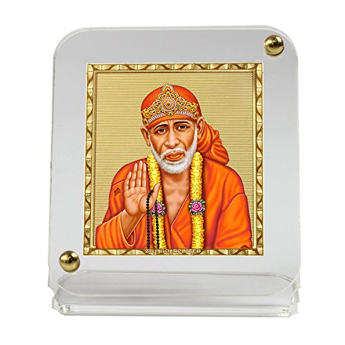 Eknoor Car Dashboard Idol- Goldplated Recta 45/50- Sai Baba Ji With Japa Mala (Prayer Beads)