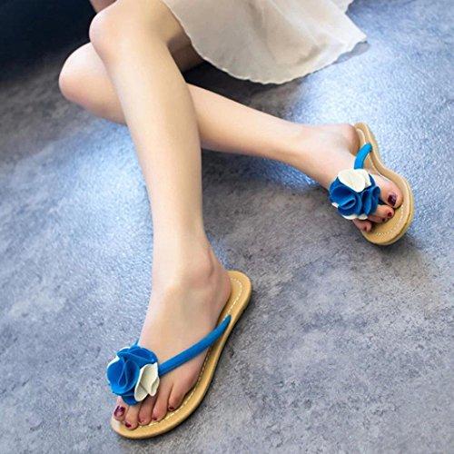 Fulltime®Chaussures plates femmes Bohême chausson fleurissent loisir sandales plage extérieure Bleu