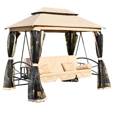 Outsunny 01–08843–4er Garten Terrasse Pavillon Shelter Canopy Zelt Festzelt Swing Stuhl Bett Bench Hängematte mit Mesh Seitenwände–Beige