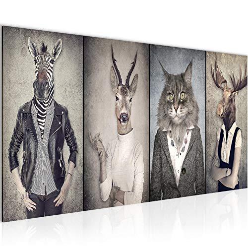 Bilder Tiere Hirsch Abstrakt Wandbild Vlies - Leinwand Bild XXL Format Wandbilder Wohnzimmer Wohnung Deko Kunstdrucke Braun 1 Teilig - MADE IN GERMANY - Fertig zum Aufhängen 018312a -