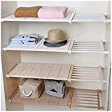 Hyfanstr Réglable Rack de Stockage Extensible Séparateur d'étagère pour Armoire, Placard, bibliothèque Compartiment Collectionner, Plastique, Blanc, 73-130CM Length & 42CM Width