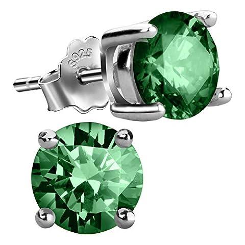 Jebox Birthstone Stud Earrings Sterling Silver Cubic Zirconia Diamond Studs Birthstone Earrings for Women Girls May