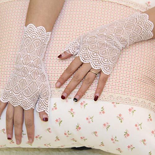 Caokang Damenhandschuhe Sommer Fingerlose Handschuhe Sonnencreme Schwarze Spitzenhandschuhe Partyspitze Fingerlose Handschuhe,Weiss Coole Handschuhe