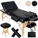 TecTake Camilla de masaje plegable con 10 cm de puro acolchado - disponible en diferentes colores - (Negro | no. 400278)