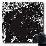 Alfombrillas de ratón para computadoras Grabado en madera Litografía Cat Made Linograbado Boceto artístico Negro Clásico Diseño de recorte creativo Alto antideslizante...