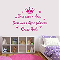 Princess Once Upon A TIME Personalised Name Wall Art Butterfly Bedroom Quote Vinyl Wall Art Decal Sticker