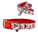 Thunbelin 1 Set Cane Collare e guinzaglio Set Babbo Natale Stampa del Modello Collare Regolabile Cablaggio con Il guinzaglio di Corrispondenza per Piccole Medie Cani di Taglia Grande (L)