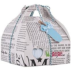 Minene Case - Caja de regalo, incluye body a rayas con aplique, pantalón, calcetines y corazoncito de tela, color azul