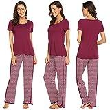 MAXMODA Damen Pyjama Set U-Ausschnitt Zweiteiliger Loungewear für Sommer Weinrot XL