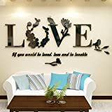Black : Hunpta Stylish Removable 3D Leaf LOVE Wall Sticker Art Vinyl Decals Bedroom Decor (Black)