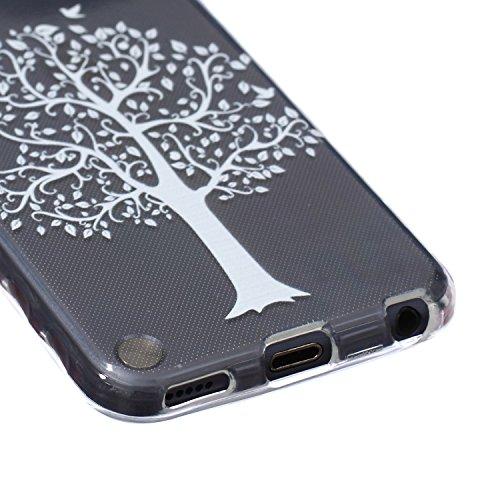 Voguecase® Pour Apple iPhone 5C, Ultra-minces TPU Silicone Shell Housse Coque Étui Case Cover (plume grise)+ Gratuit stylet l'écran aléatoire universelle arbre blanc