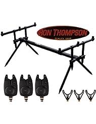 Ron Thompson Rod Pod Set avec 3détecteurs de touches Blaster VT et 3supports de cannes à pêche en U