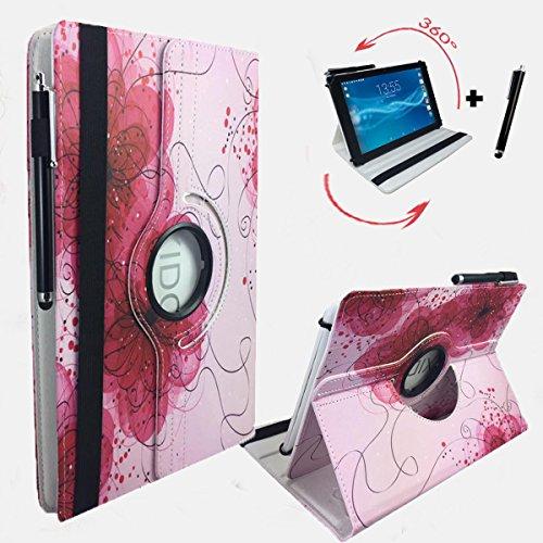 Preisvergleich Produktbild Rose Motiv Schutz Tasche MEDION LIFETAB P10505 MD 99985 MD 99984 mit Standfunktion, optimaler Tablet Schutz - 10.1 Zoll 360° Pink Blume