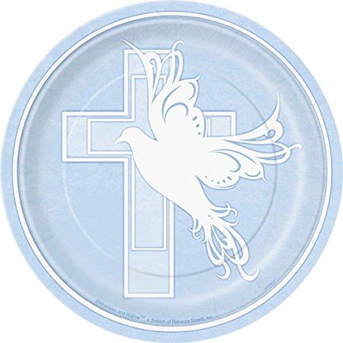 """Nana 's Party Versand Schnell 8Pappteller Jungen Mädchen Kommunion/Konfirmation/Taufe (Party Geschirr) 7"""" Dove Cross Blue (Round)"""