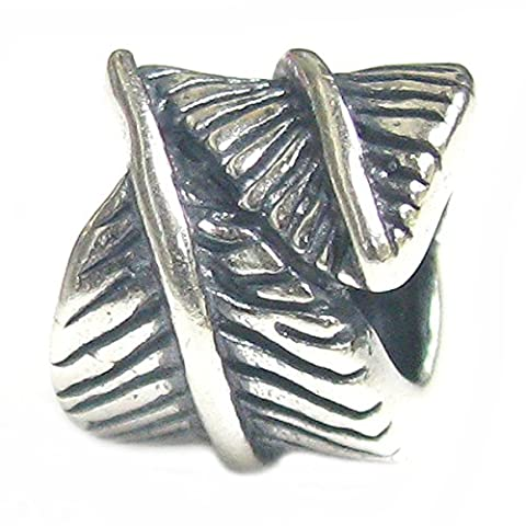 Queenberry Sterling Silver Angel Feather European Style Bead Charm