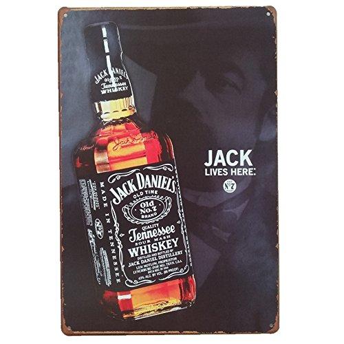 Desconocido Unbekannt Posters und Blechdosen von Whisky Jack Daniels 20 cm x 30 cm. Vintage Metallschild, Dekorativ für Bars, Wände und Garage.
