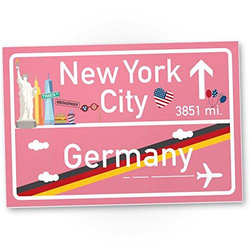 rosa, Geschenk für sie - New York Amerika Reise / süße Deko für NYC Fans, Wanddeko, Türschild für Mädchen Wohnung, Geschenkidee Geburtstagsgeschenk beste Freundin, Party Deko (New York-party Dekorationen)