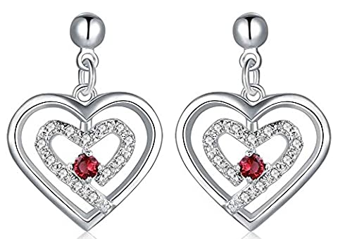 SaySure - Jewelry Silver Plated red heart in heart Earrings