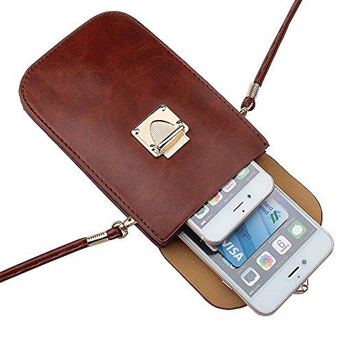 xhorizon TM Élégant PU bandoulière en cuir Sac à seule épaule pochette de téléphone avec bandoulière pour iPhone 6/6s 6/6Plus/5S/4S Samsung S6/S5/S4/S3/Note3/2,plus portable sous 5,5 pouces Café