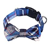 AcornPets C-022 Hand-made Classical Blue Tartan Dog Collars with Butterfly Knot Design, Size Adustable From 34 To 48 CM For Small or Medium Size Dog Up To 30 KG