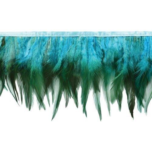 """Jaylo Feather Fringe Trim 5-1/2"""" Wide 5 Yards-Turquoise"""