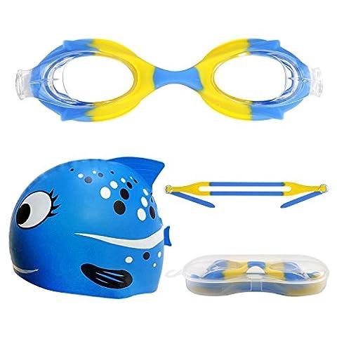 Lunettes de natation pour enfants avec bonnet de bain souple réglable mixte pour enfant en silicone Bonnet de bain et lunettes avec sangle de tête et LeakProof Joint–Protection contre les UV, miroir antibuée pour filles et garçons,