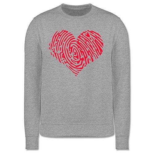 Statement Shirts - Herz Fingerabdruck Rot - Herren Premium Pullover Grau Meliert