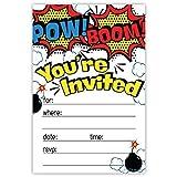 Superheld Geburtstag Party Einladungen (20Zählen) mit Umschlägen