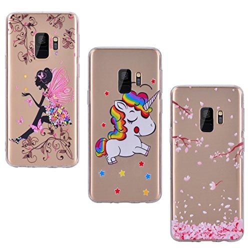 Yokata [3 Packs] Samsung Galaxy S9 Hülle Silikon Transparent Durchsichtig Handyhülle Schutzhülle TPU Dünn Slim Kratzfest mit Motiv - Schmetterlings-Mädchen + Einhorn + Sakura