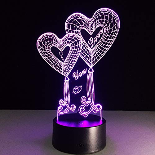 Neuheit 3D Doppel Herz Nachtlicht Remote Touch 7 Farbwechsel LED USB Tischlampe Mond romantische Hochzeit Party Decor han-8692 -