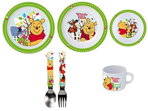 Winnie the Pooh 6 teiliges Melamin Küchenset für Kinder, Teller, Müslischale, Suppenteller, Besteckset und Kinderbecher als preiswertes Set