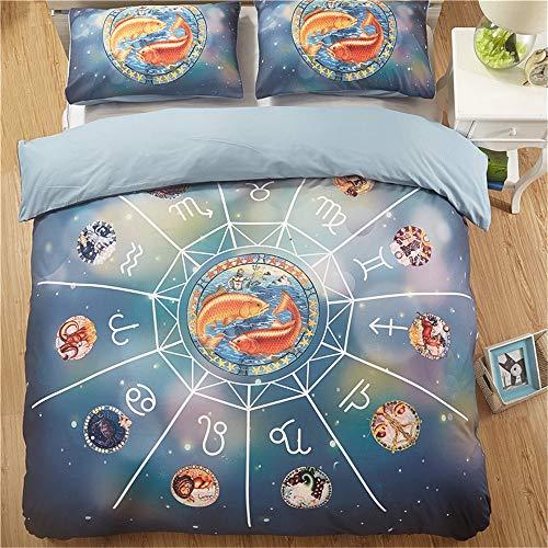 YUNSW Bettwäsche-Sets Reaktivdruck 12 Konstellationen Muster Bettbezug Kissenbezug Full Size H 200x200cm -