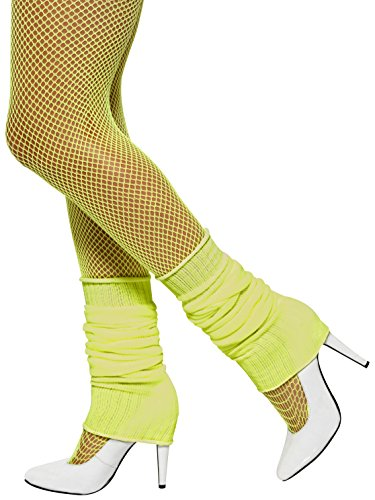 Smiffys, Damen Beinstulpen, One Size, Neon Gelb, (Online Kostüm Aerobic)