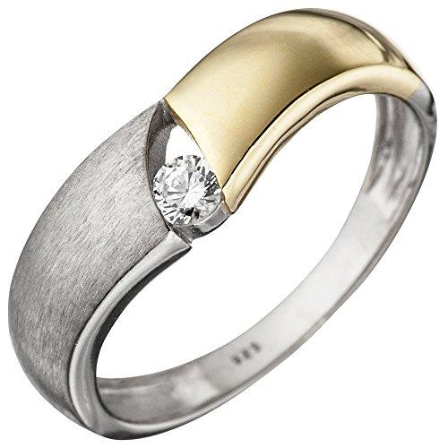JOBO Damen Ring 925 Sterling Silber bicolor vergoldet matt 1 Zirkonia Silberring Größe 54