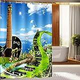 Wasserdichte Duschtrennwand für Duschwände mit Gitarrendruck, Breite 165cmx Höhe 180cm