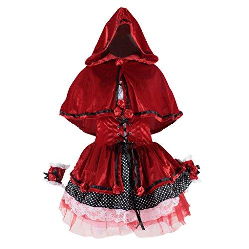 Hee Grand Damen Maedchen Suess Weihnachten Rot Kleider Rotkaeppchen Kostuem Abendkleider Kleid+Umhang+Armband Tanz ()